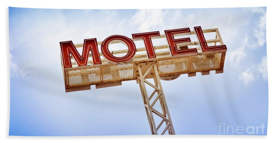 Abandoned Beach Towel featuring the photograph Motel Sign by Tim Hester