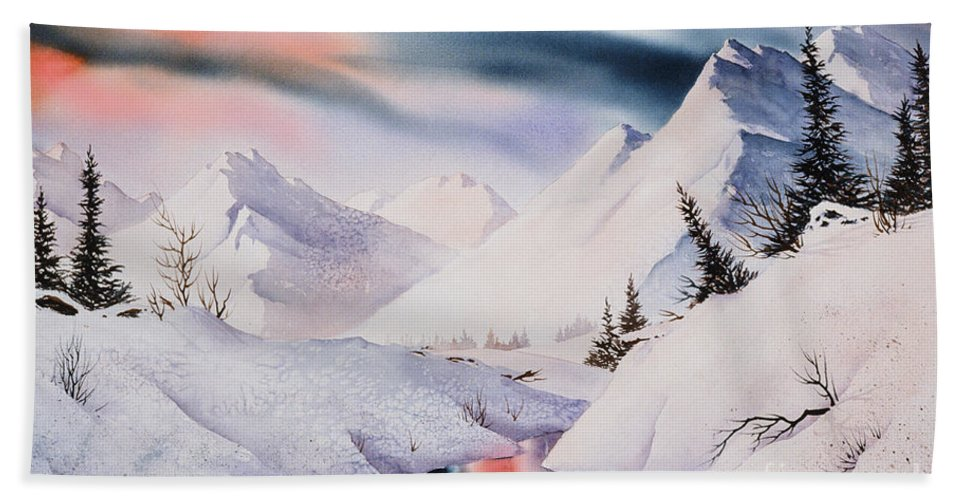 Mountain Majesty Beach Towel featuring the painting Mountain Majesty by Teresa Ascone