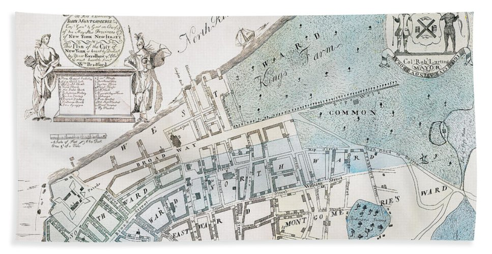 1728 Beach Towel featuring the photograph New York City Map, 1728 by Granger