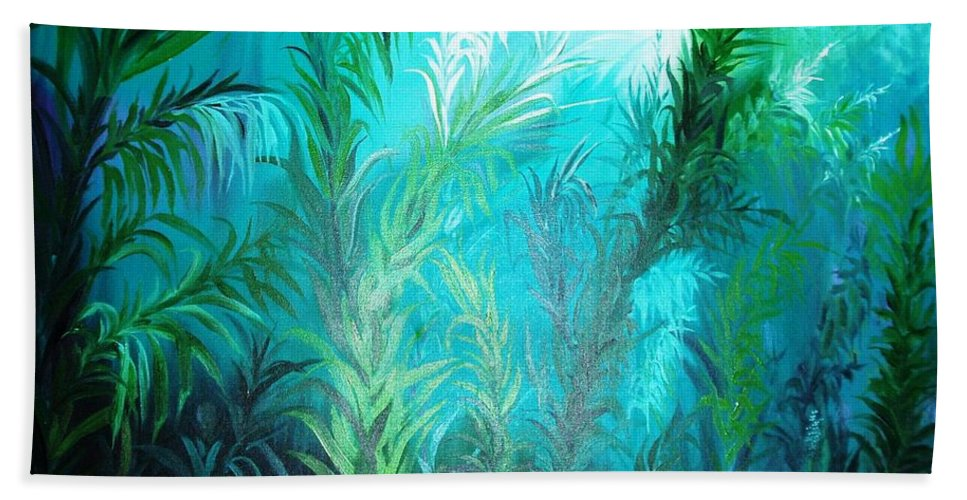 Ocean Beach Towel featuring the painting Ocean Plants by Rupa Prakash