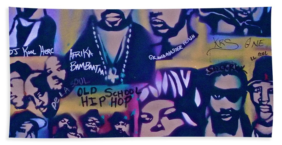 Hip Hop Beach Towel featuring the painting Old School Hip Hop 3 by Tony B Conscious