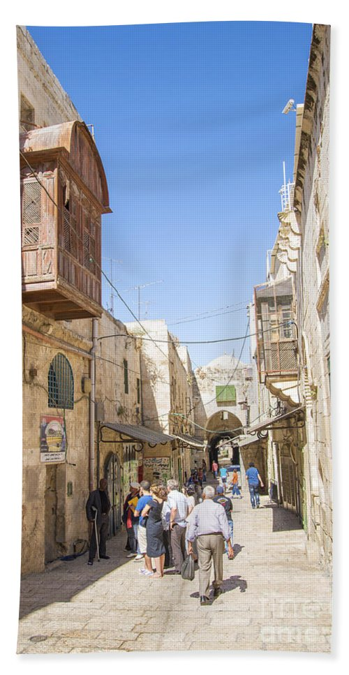 Ancient Beach Towel featuring the photograph Old Town Street In Jerusalem Israel by Jacek Malipan