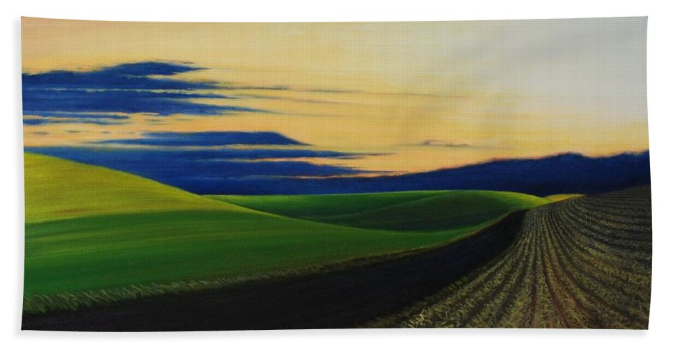 Landscape Beach Towel featuring the painting Palouse Drive by Leonard Heid