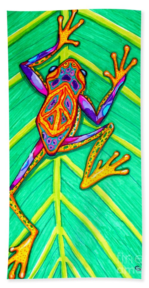 Frog Beach Towel featuring the mixed media Peace Frog by Nick Gustafson