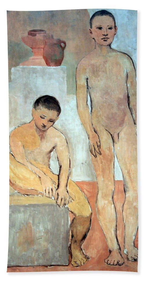 Two Youths Beach Towel featuring the photograph Picasso's Two Youths by Cora Wandel
