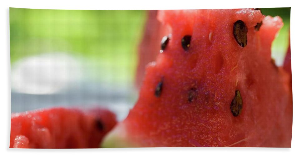 Bowler Hat Beach Towel featuring the photograph Pieces Of Watermelon by Foodcollection