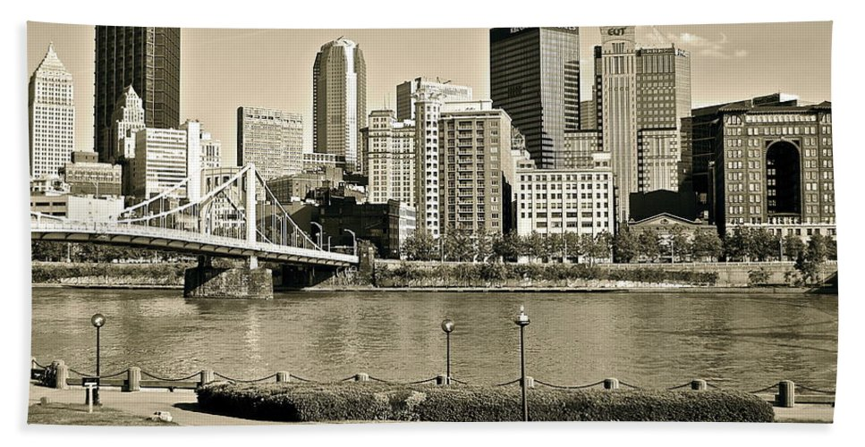 Pittsburgh Beach Towel featuring the photograph Pittsburgh In Sepia by Frozen in Time Fine Art Photography