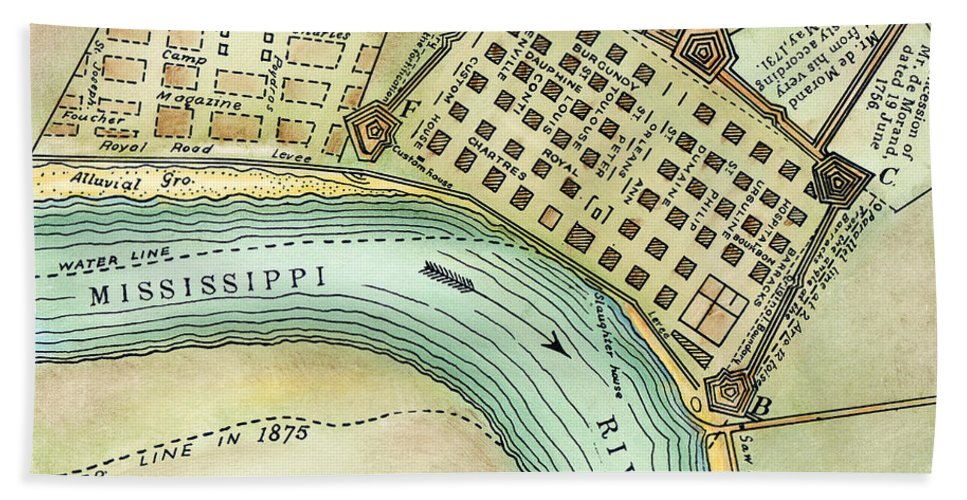 1798 Beach Towel featuring the photograph Plan Of New Orleans, 1798 by Granger