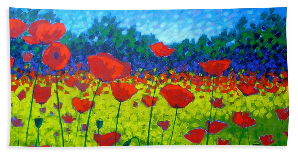 Flowers Beach Towel featuring the painting Poppy Field by John Nolan