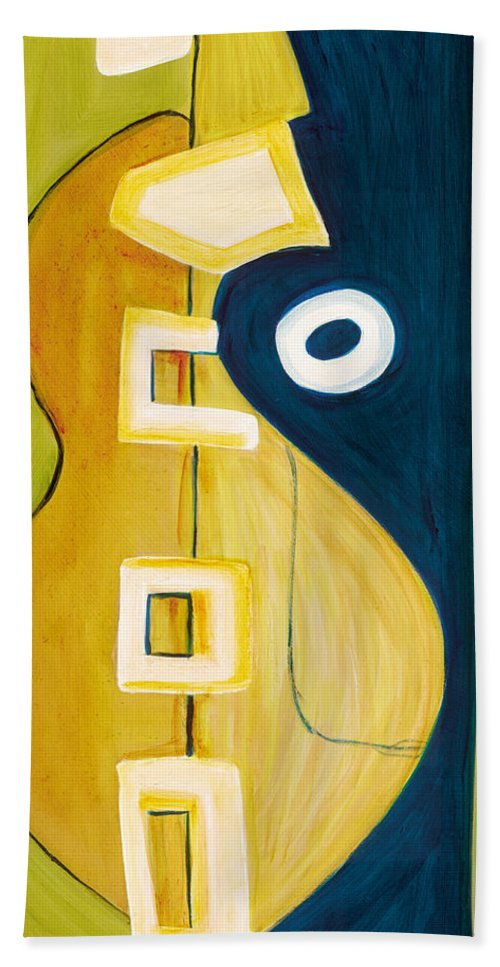 Abstract Art Beach Towel featuring the painting Portrait Of A Humble Man 4 by Stephen Lucas