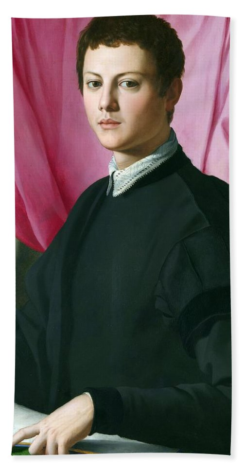 1550-1555 Beach Towel featuring the painting Portrait Of A Young Man by Agnolo Bronzino
