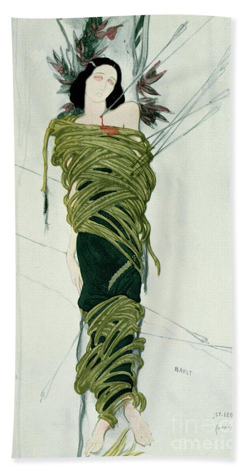 Leon Bakst Beach Towel featuring the painting Portrait Of Ida Lvovna Rubinstein by Leon Bakst