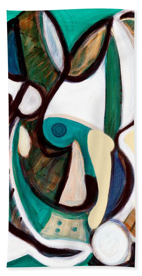 Abstract Art Beach Towel featuring the painting Portrait Of My Innocence by Stephen Lucas