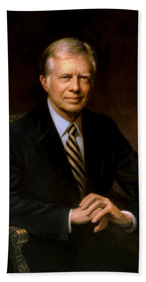 Jimmy Carter Beach Towel featuring the painting President Jimmy Carter Painting by War Is Hell Store