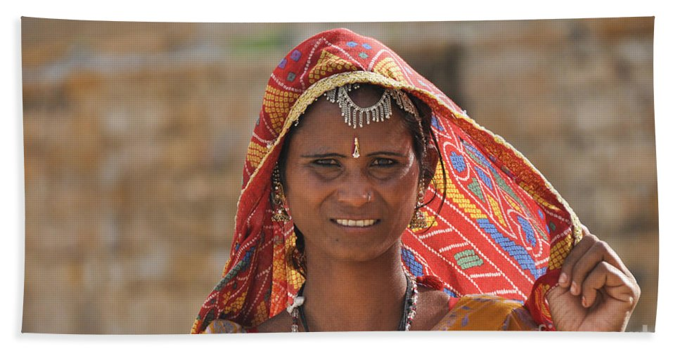 India Beach Towel featuring the photograph Rajasthani Woman by Judith Katz