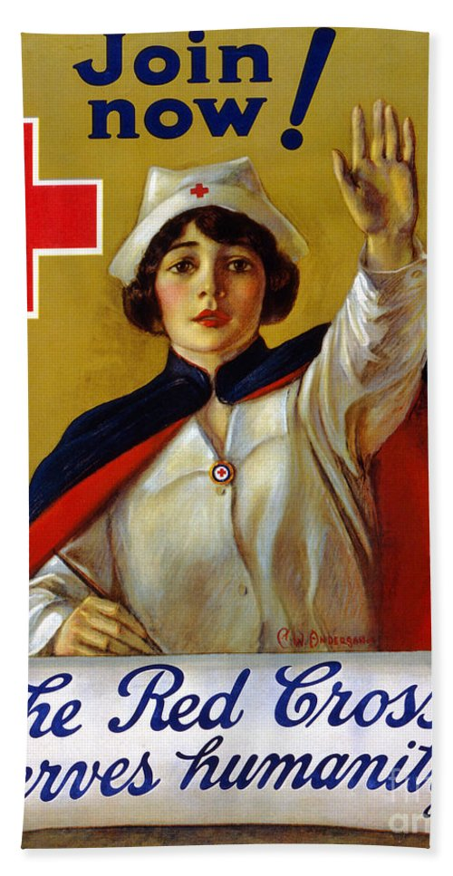 1917 Beach Towel featuring the photograph Red Cross Poster, C1917 by Granger