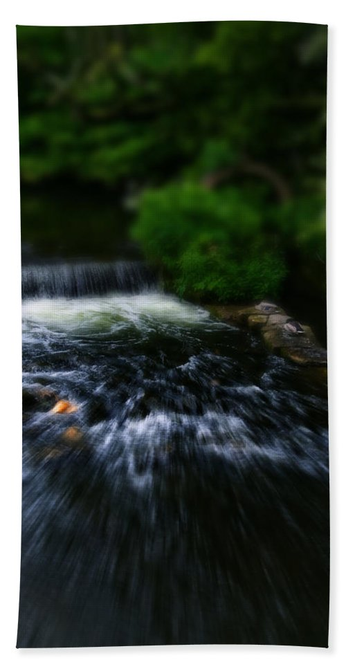 Bakewell Beach Towel featuring the photograph River Wye Waterfall - In Bakewell Peak District - England by Doc Braham