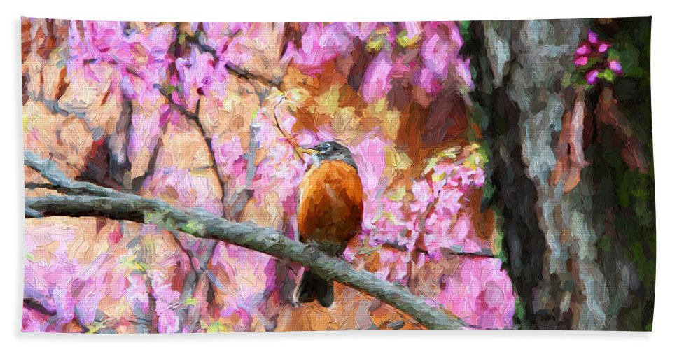 Birds Beach Towel featuring the photograph Robin In A Red Bud Tree by John Freidenberg