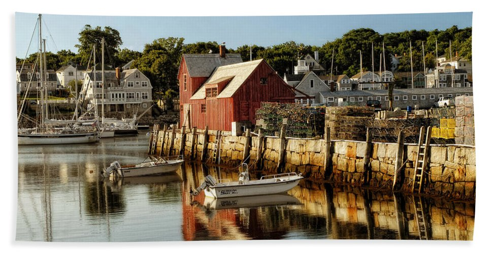 Rockport Beach Towel featuring the photograph Rockport Harbor by Claudia Kuhn