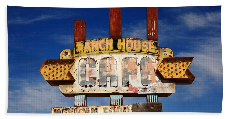 66 Beach Towel featuring the photograph Route 66 Cafe by Frank Romeo