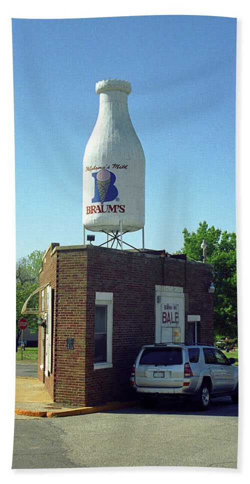 66 Beach Towel featuring the photograph Route 66 - Giant Milk Bottle by Frank Romeo