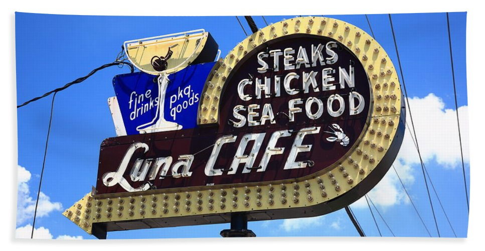 66 Beach Towel featuring the photograph Route 66 - Luna Cafe by Frank Romeo