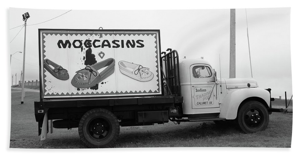 66 Beach Towel featuring the photograph Route 66 - Oklahoma Trading Post Truck by Frank Romeo