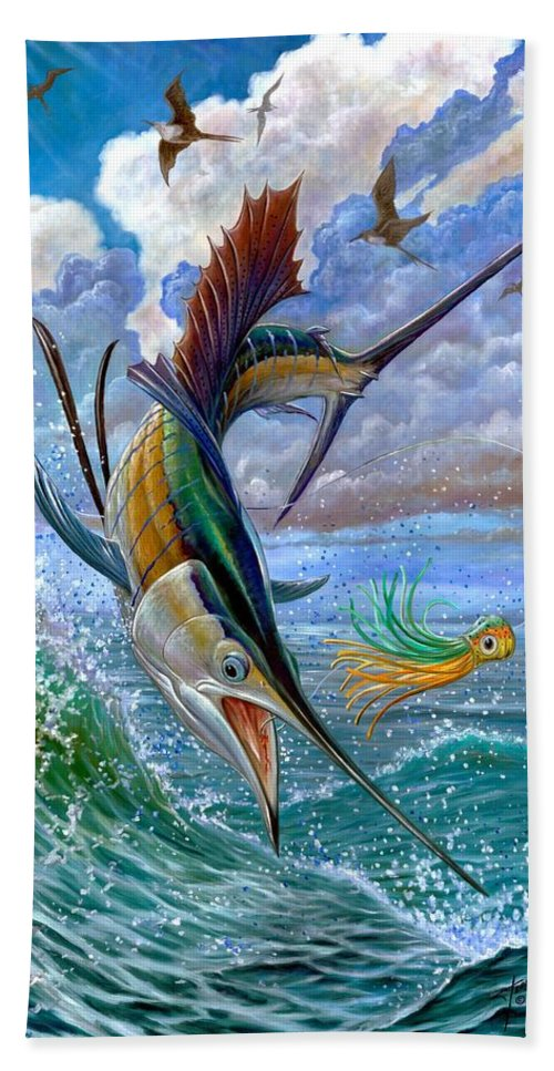 Sailfish Beach Towel featuring the painting Sailfish And Lure by Terry Fox