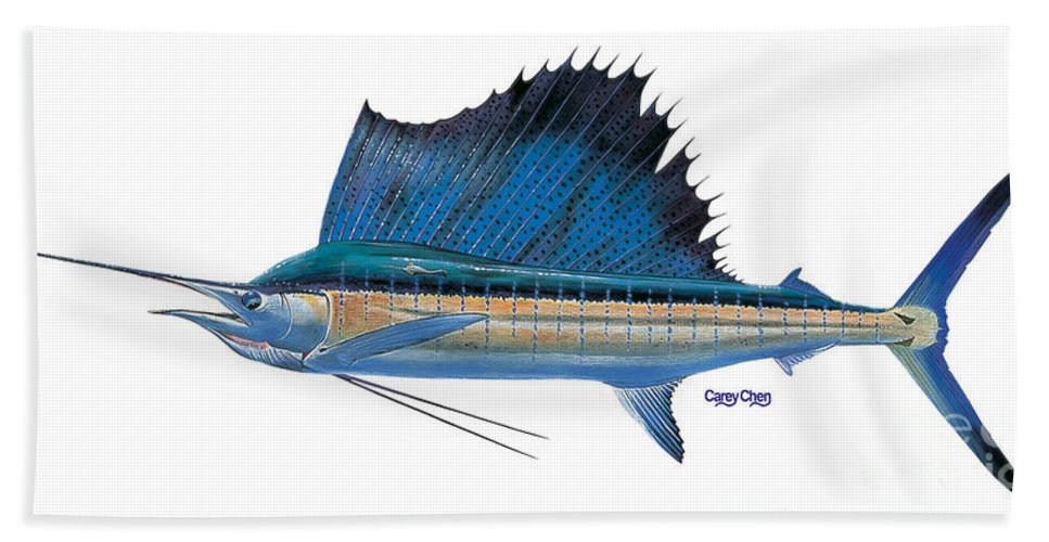 Sailfish Beach Towel featuring the painting Sailfish 2 by Carey Chen