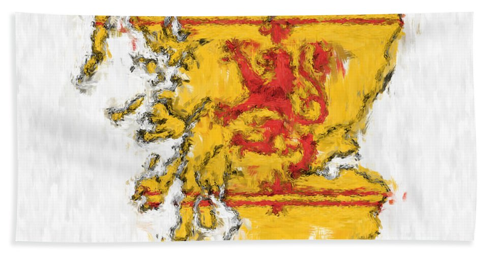Scotland Beach Towel featuring the photograph Scotland Painted Flag Map by Antony McAulay