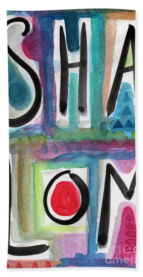 Shalom Beach Towel featuring the painting Shalom by Linda Woods