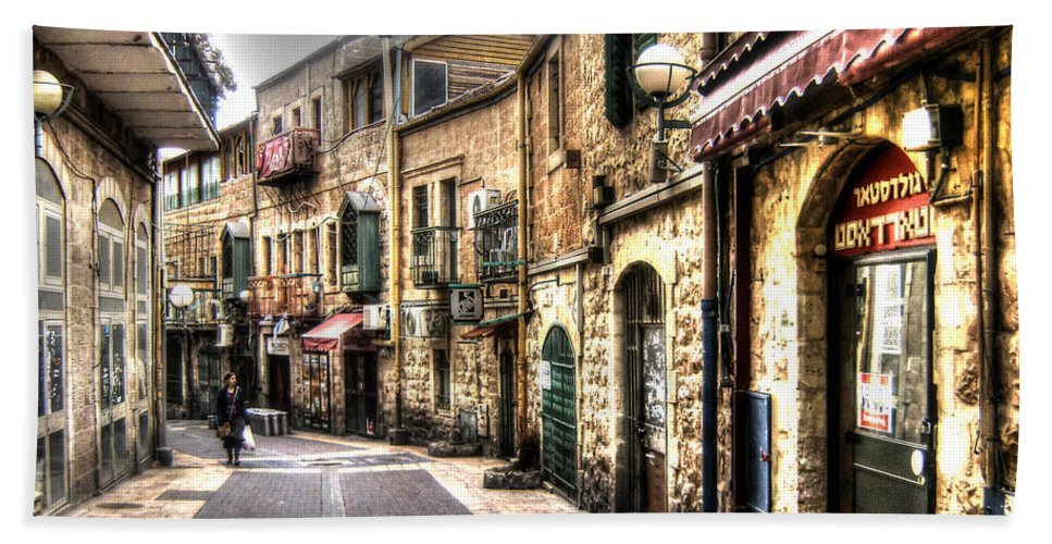 Western Wall Beach Towel featuring the photograph Quiet Shopping Street Before The Shops Open by Doc Braham