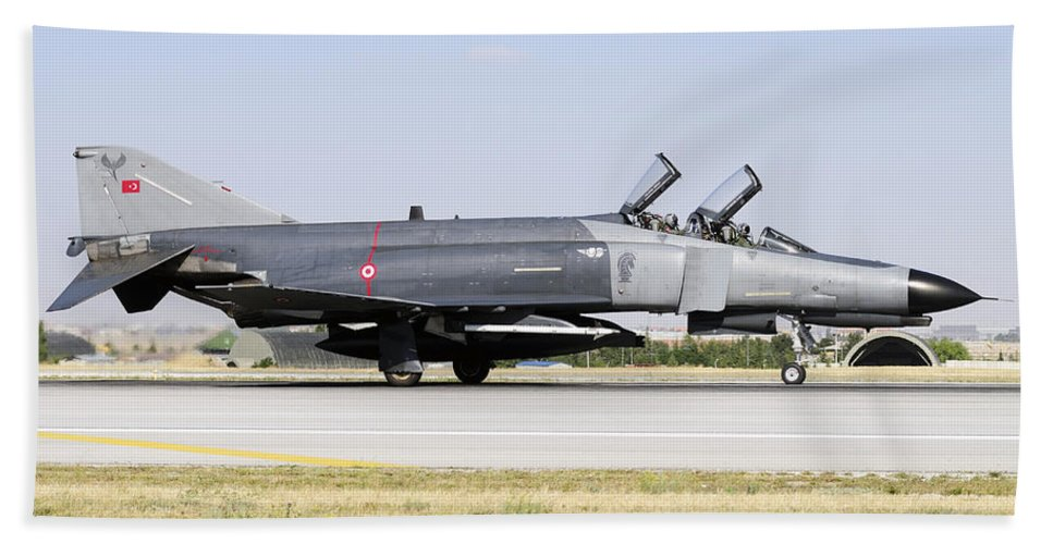 Military Beach Towel featuring the photograph Side View Of A Turkish Air Force by Daniele Faccioli