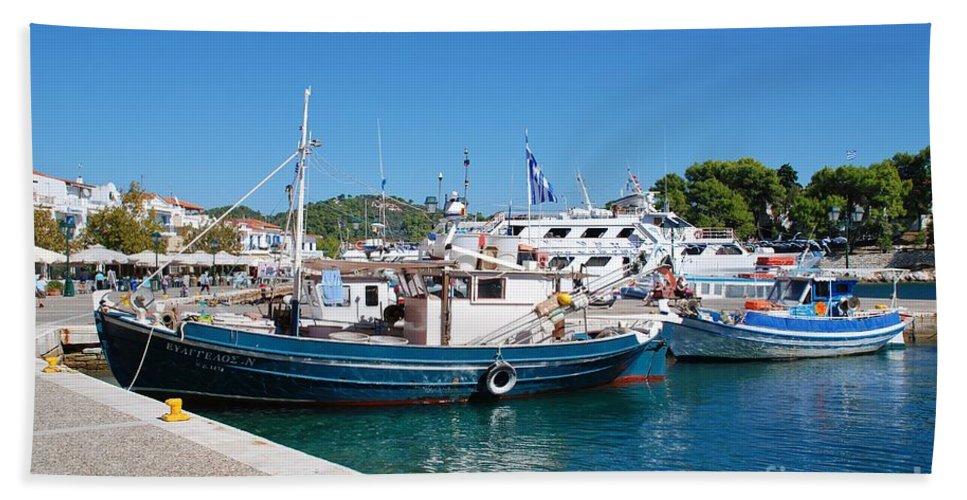 Skiathos Beach Towel featuring the photograph Skiathos Town Harbour by David Fowler
