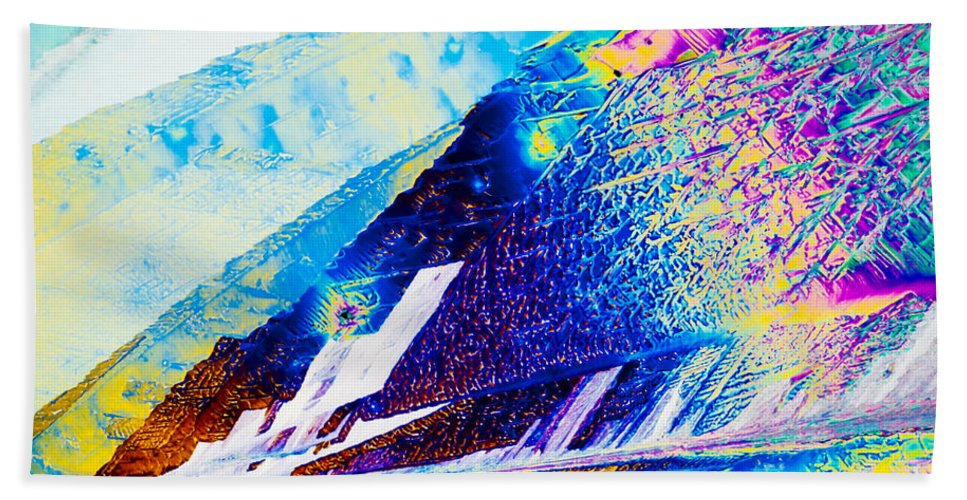 Abstract Beach Towel featuring the photograph Sodium Thiosulphate Crystals In Polarized Light by Stephan Pietzko