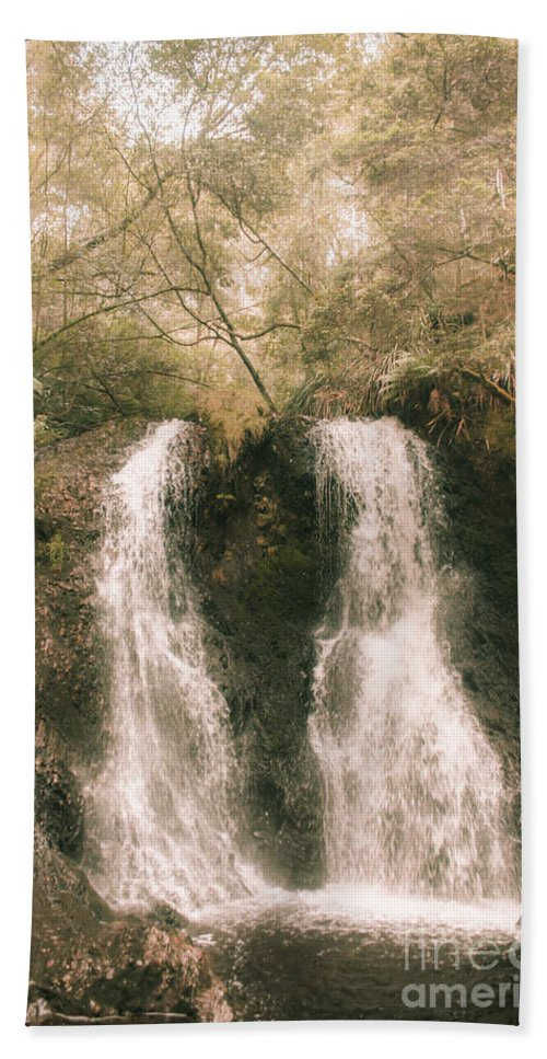 Waterfall Beach Towel featuring the photograph Soft Vintage Forest Waterfall In Tasmania by Jorgo Photography - Wall Art Gallery
