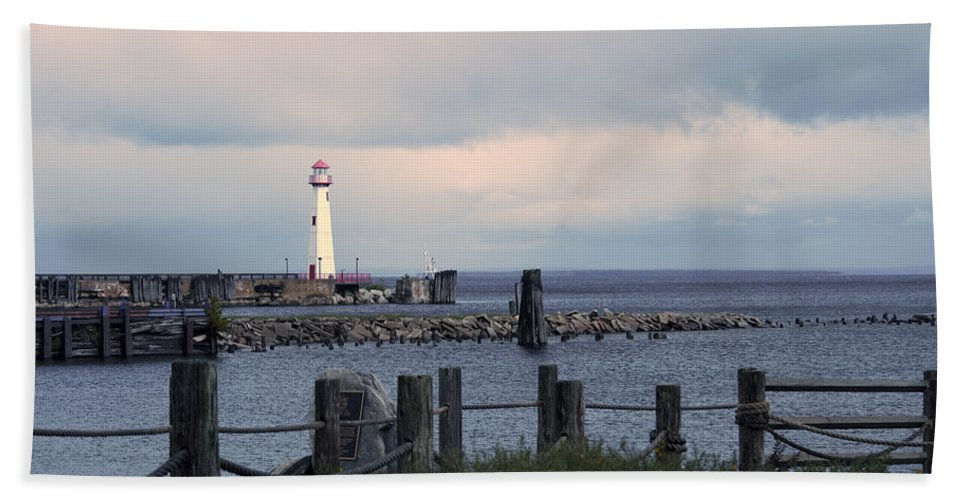 St. Ignace Lighthouse Beach Towel featuring the photograph St. Ignace Light by Linda Kerkau