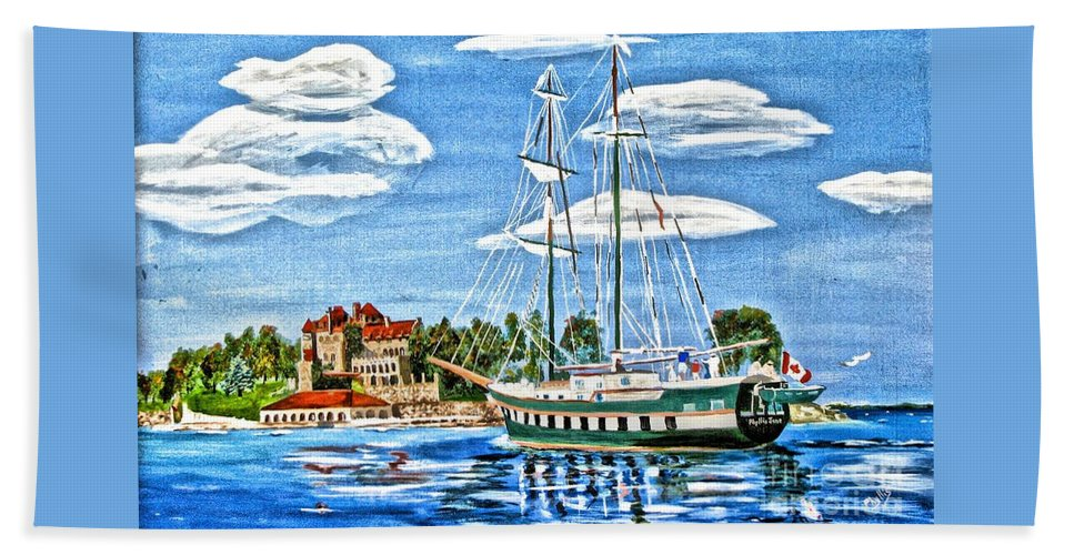 St Lawrence Seaway Beach Towel featuring the painting St Lawrence Waterway 1000 Islands by Phyllis Kaltenbach