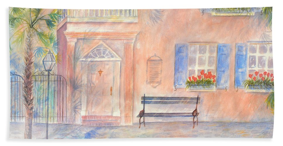 Charleston Beach Towel featuring the painting Sunday Morning in Charleston by Ben Kiger
