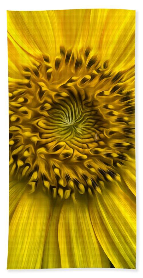 Sunflower Beach Towel featuring the photograph Sunflower In Oil Paint by Erika Fawcett