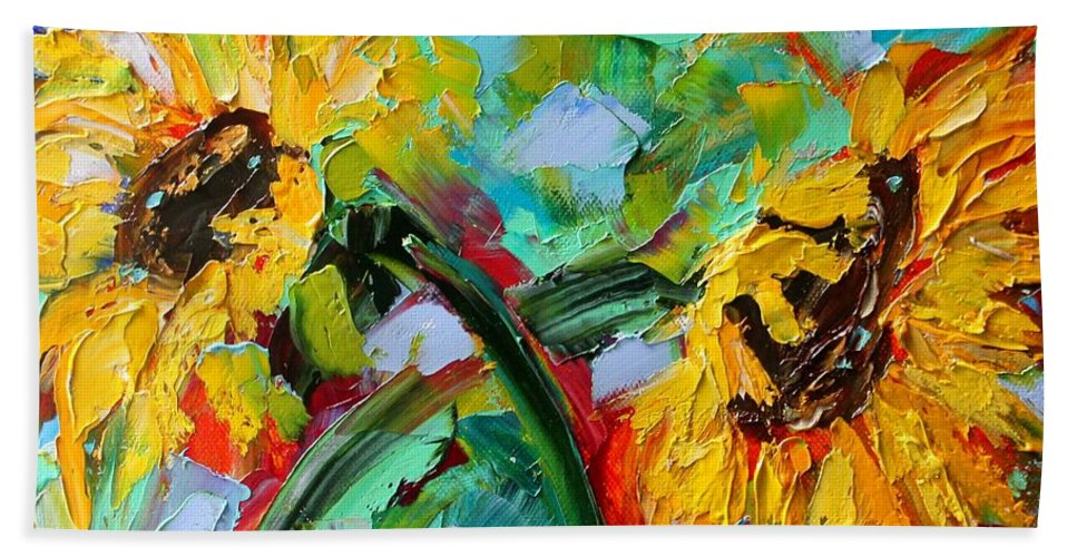 Flowers Beach Towel featuring the painting Sunflower Joy by Karen Tarlton