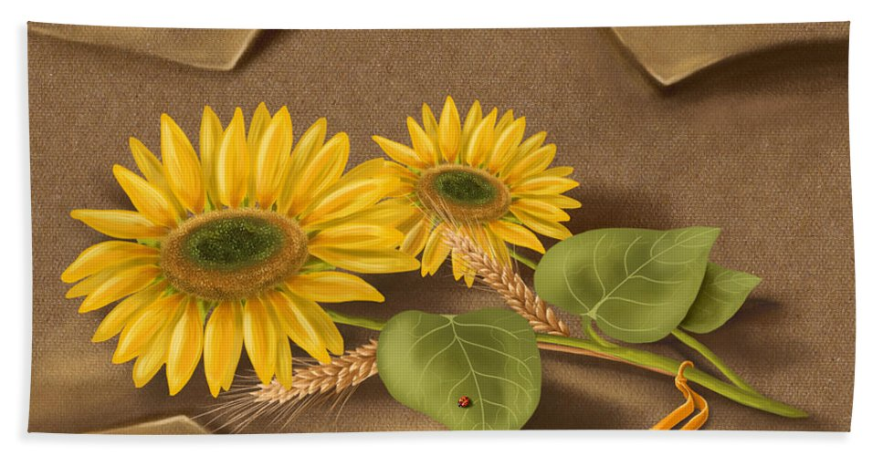 Still Life Beach Towel featuring the painting Sunflowers by Veronica Minozzi