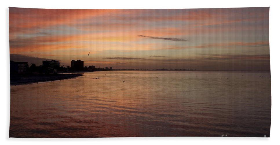 Sunrise Beach Towel featuring the photograph Sunrise Over Fort Myers Beach Photo by Meg Rousher