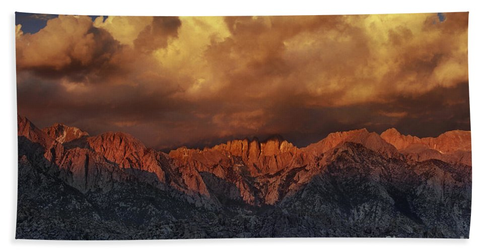 Dave Welling Beach Towel featuring the photograph Sunrise Storm Alabama Hills California by Dave Welling