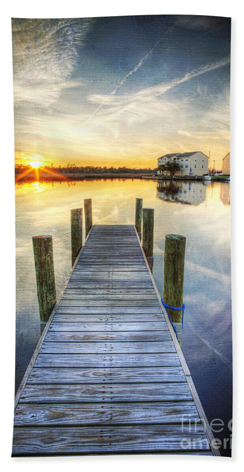 Hdr Beach Towel featuring the photograph Sunset Pier by Joan McCool