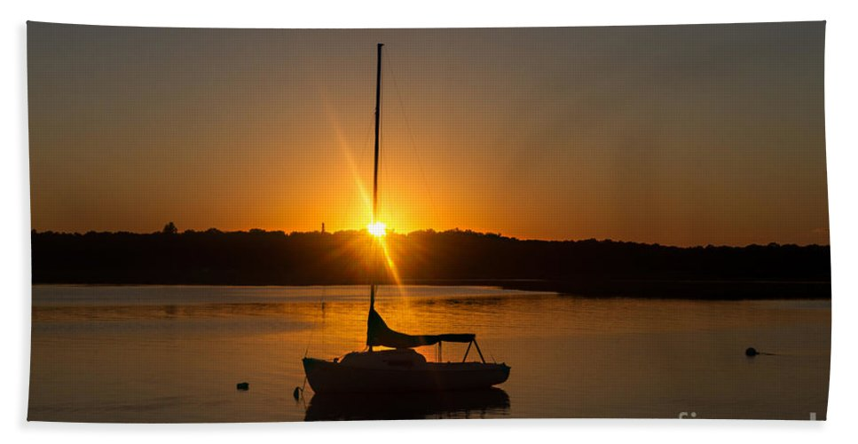Sailboat Beach Towel featuring the photograph Sunset Silhouette by A New Focus Photography