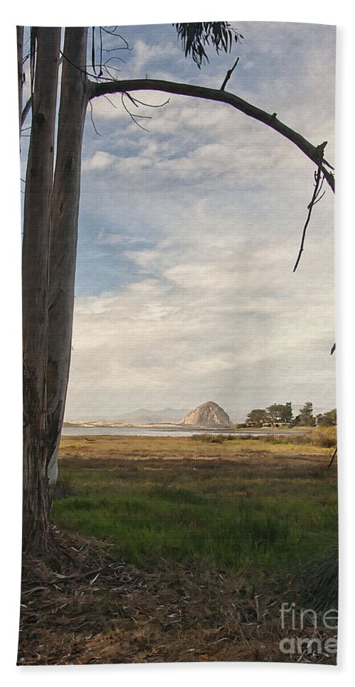 Morro Rock Beach Towel featuring the digital art Sweet Water View by Sharon Foster