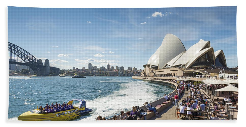 Architecture Beach Towel featuring the photograph Sydney Harbour In Australia By Day by Jacek Malipan