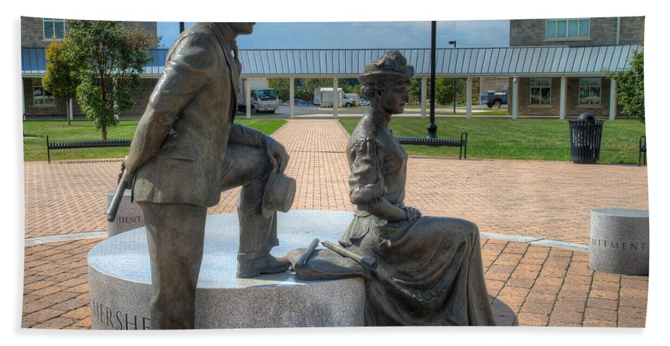 Catherine Beach Towel featuring the photograph The Catherine And Milton Hershey Statue by Mark Dodd