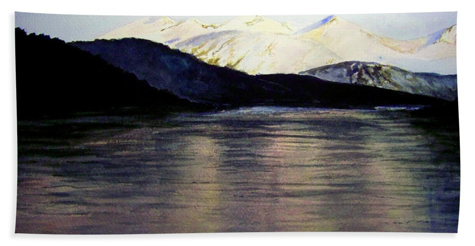 Watercolor Beach Towel featuring the painting The Deepening Day by Brenda Owen